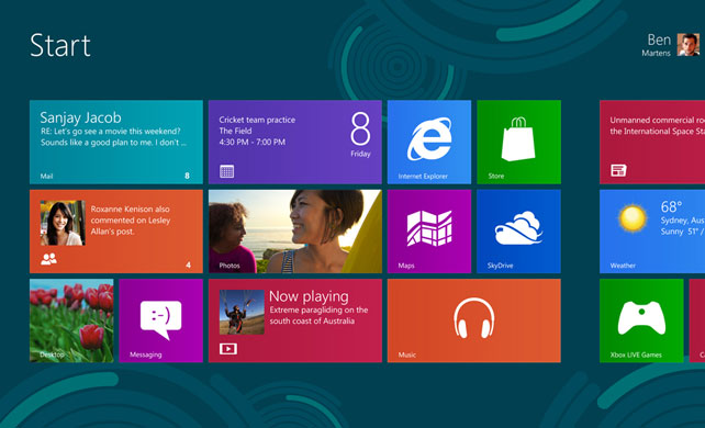 Windows 8 top level UI